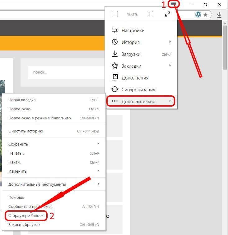 Главное меню браузера Яндекс
