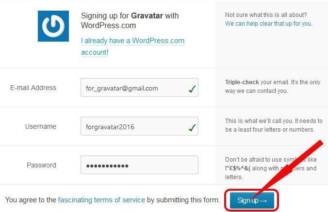 Как сделать граватар - регистрация