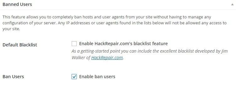 Настройки безопасности iThemes Security - Banned users
