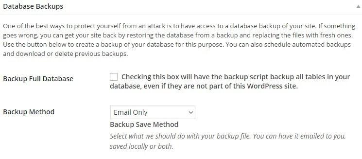Настройки безопасности iThemes Security - Database backups