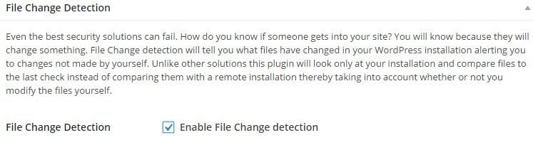 Настройки безопасности iThemes Security - File change detection