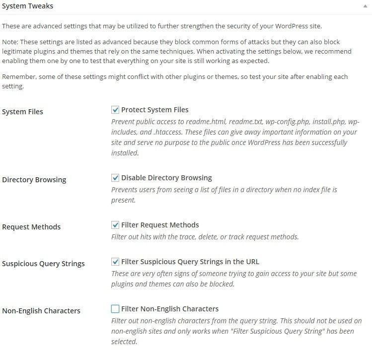 Настройки безопасности iThemes Security - System tweaks